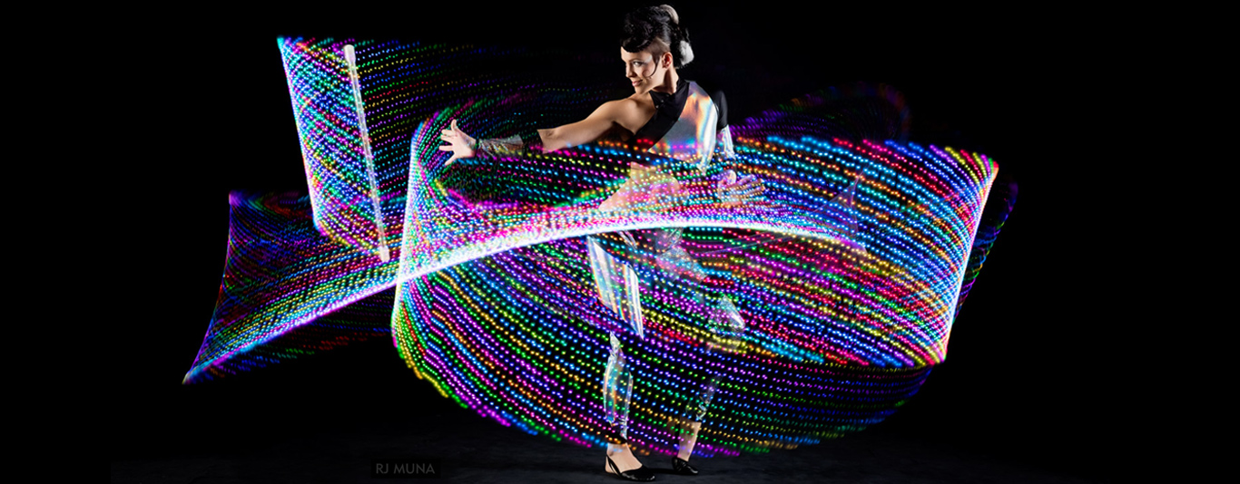 Spiral performs with LED flow wand